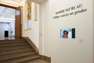Exhibition entrance with Lisa Hilli's video Afrophobia (2007) © Yves Gervais, BOZAR