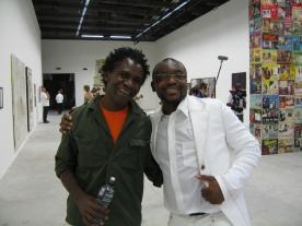 Cameroonian artist Bili Bidjoka and filmmaker Jean-Pierre Bekolo. Photo: Christine Eyene