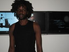 Angolan artist Ihosvanny in front of Urban Sox (2007). Photo: Christine Eyene