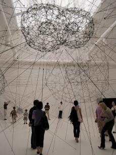 Tomás Saraceno, Galaxies Forming along Filaments, like Droplads along the Strands of a Spider's Web, 2009. Elastic ropes.