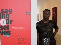 Curator Raphael Chikukwa at the Zimbabwe Pavilion.