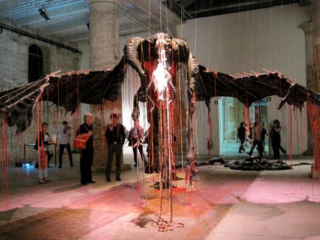 Nicholas Hlobo, Iimpundulu Zonke Ziyandilandela, 2011. Sculpture, rubber, ribbon, mixed media.
