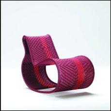 Cheick Diallo, Segou. Rocking chair, steel structure, seat in woven nylon thread.