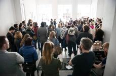 Visitors gathered for the opening speeches by Koyo Kouoh, curator of EVA International 2016, Mary Conlon, co-director of Ormston House, and Christine Eyene, curator of Murder Machine. Photo: Shane Serrano.