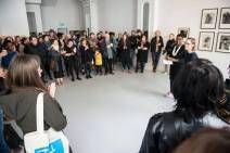 Visitors gathered for the opening speeches by Koyo Kouoh, Mary Conlon and Christine Eyene. Photo: Shane Serrano.